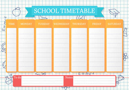 School timetable. Schedule for kids. Student plan template on checkered paper with linear school icons. Weekly time table with lessons. Vector illustration. Educational classes diary in English, A4.