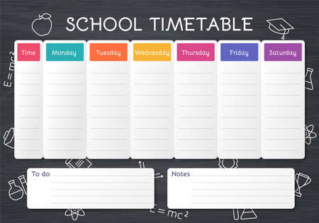School timetable. Schedule for kids. Student plan template on blackboard with outline school icons. Weekly time table with lessons. Vector illustration. Educational classes diary in English, A4.
