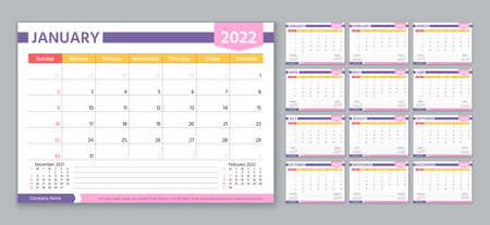 Planner 2022 year. Calendar template. Week starts Sunday. Vector. Yearly stationery organizer. Table schedule grid. Calender layout. Horizontal monthly diary with 12 month. Simple color illustration.