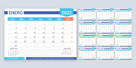 Spanish calendar for 2022 year. Planner template. Week starts Monday. Vector. Calender layout with 12 month. Table schedule grid. Yearly stationery organizer. Horizontal monthly diary. Illustration.