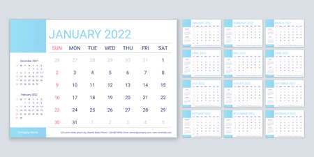 2022 calendar. Planner, calender template. Week starts Sunday. Vector. Yearly stationery organizer. Table schedule grid with 12 month. Corporate monthly diary layout. Horizontal simple illustration.