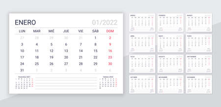 2022 Spanish calendar. Planner template for year. Desk calender layout with 12 month. Vector. Week starts Monday. Schedule grid. Yearly organizer. Horizontal monthly diary. Simple illustration. Illustration