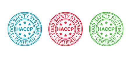 HACCP certified grunge stamp. Hazard analysis and Critical Control Points round emblem. Food safety system seal imprint. Quality warranty icon isolated on white background. Vector illustration.
