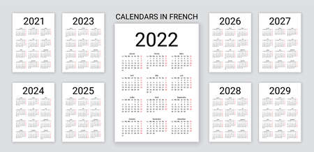 French Calendar 2022, 2023, 2024, 2025, 2026, 2027, 2028, 2029, 2021, years. France calender template. Week starts Monday. Yearly desk organizer. Vertical, portrait orientation. Vector illustration