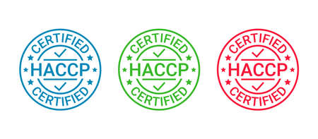 HACCP certified badge. Certificate round stamp. Hazard analysis and Critical Control Points emblem. Food safety system. Quality warranty icon isolated on white background. Vector illustration.