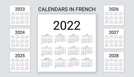 French Calendar 2022, 2023, 2024, 2025, 2026, 2027, 2028 years. France calender template. Week starts Monday. Yearly stationery organizer. Minimal, simple design, french language. Vector illustration. Illustration
