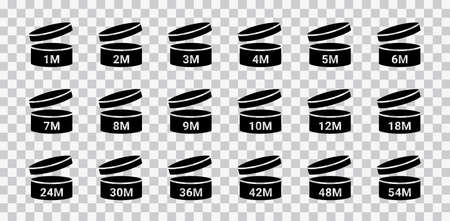 PAO icons. Period after opening symbols. Set packaging signs for cosmetic products. Expiration period in months isolated on transparent. Round box with cap. Black expiry labels. Vector illustration