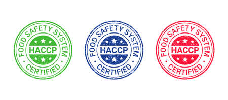 HACCP certified grunge stamp. Food safety system round emblem. Hazard analysis and Critical Control Points seal imprint. Quality warranty icon isolated on white background. Vector illustration. Illustration