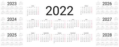Spanish Calendar 2022, 2023, 2024, 2025, 2026, 2027, 2028 years. Vector. Week starts Monday. Template pocket or wall Spain calenders. Desk organizer. Landscape horizontal orientation. Illustration.
