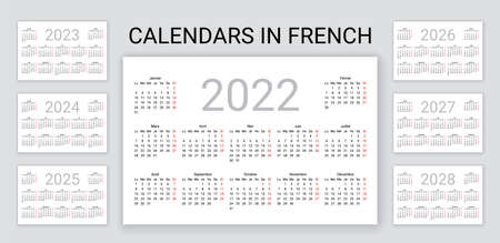 French Calendar 2022, 2023, 2024, 2025, 2026, 2027, 2028 years. France pocket or wall calender template. Week starts Monday. Yearly desk organizer. Vertical, portrait orientation. Vector illustration