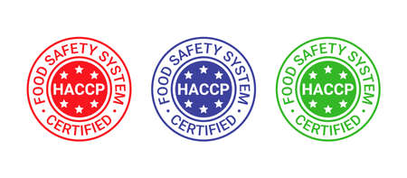 HACCP certified stamp. Food safety system round emblem. Hazard analysis and Critical Control Points seal imprint. Quality warranty icon isolated on white background. Vector illustration. Illustration