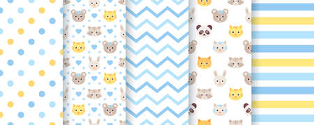 Baby pattern. Baby boy seamless backgrounds. Kids textures with animals, polka dot, zig zag and stripes. Set of cute textile prints. Blue pastel childish scrapbook backdrops. Vector illustration.