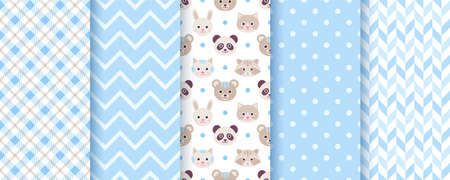 Baby boy pattern. Seamless backgrounds. Blue kids textures with animals, polka dot, zig zag and plaid. Set of cute textile prints. Pastel childish scrapbook backdrops. Vector illustration. Illustration