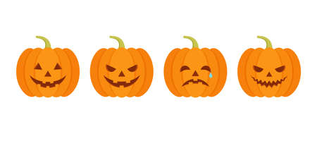 Halloween pumpkin icon. Vector. Halloween scary pumkin with smile, happy and sad face. Autumn symbol. Orange squash silhouette isolated on white background. Flat design. Cartoon colorful illustration.