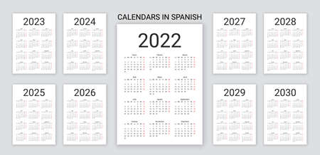 Spanish Calendar 2022, 2023, 2024, 2025, 2026, 2027, 2028, 2029 years. Vector. Week starts Monday. Template pocket or wall Spain calender. Desk organizer. Yearly grid of schedule. Simple illustration