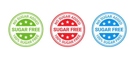 Sugar free stamp icon. No sugar added round label. Diabetic imprint badge. Green, red and blue seal marks isolated on white background. Vector illustration. Emblem for package product. Flat design. Illustration