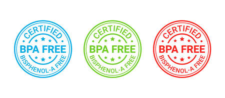 BPA free stamp. Non toxic plastic badge, icon. No bisphenol round label, emblem. Bisphenol A and phthalates free seal imprint for eco packaging. Vector illustration.