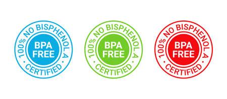 BPA free stamp. No bisphenol round badge, icon. Non toxic plastic label, emblem. Bisphenol A and phthalates free seal imprint for eco packaging. Vector illustration. Illustration