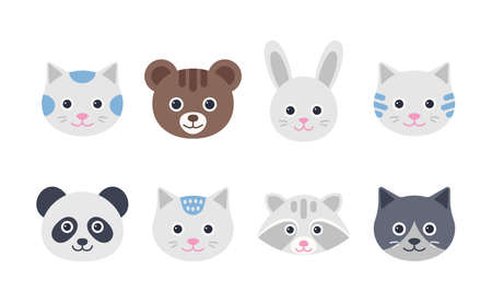 Cute animal faces. Cat, hare, bear, panda and raccoon characters. Set animal heads in flat design. Icons isolated on white background. Vector illustration.