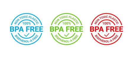 BPA free stamp. Non toxic plastic badge icon. No bisphenol round label emblem. Bisphenol A, phthalates free seal imprint for eco packaging. Seal mark isolated on white background. Vector illustration