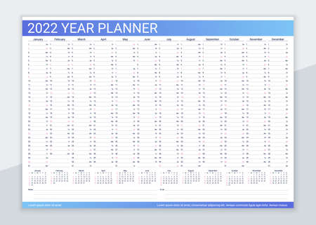 2022 year calendar planner. Desk calender template. Vector. Annual daily organizer. Agenda diary with 12 months. Week starts Sunday. Schedule page in English. Business illustration in simple design. Illustration