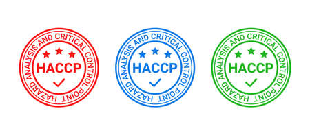 HACCP food safety system badge, stamp. Certified round emblem. Hazard analysis and Critical Control Points icon. Quality warranty seal imprint isolated on white background. Vector illustration. Illustration