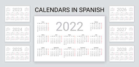 Spanish calendar 2022, 2023, 2024, 2025, 2026, 2027, 2028 years. Vector. Desk organizer. Week starts Monday. Template pocket or wall Spain calenders. Landscape horizontal orientation. Illustration.