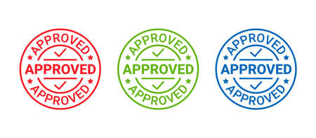 Approved stamp. Vector. Quality mark approve. Approval permit badge, label. Accepted round sticker. Confirm certificate. Seal imprint of permission. Circle shape emblem isolated on white background