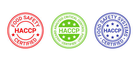 HACCP food safety system stamp, badge. Hazard analysis Critical Control Points seal imprint. Set icons isolated on white background. Certified round emblem. Quality warranty mark. Vector illustration