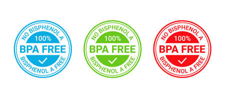 BPA free stamp. No bisphenol badge emblem. Non toxic plastic round label icon. Bisphenol A, phthalates free seal imprint for eco packaging. Seal mark isolated on white background. Vector illustration