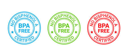 BPA free badge. No bisphenol round stamp, icon. Non toxic plastic label. Bisphenol A and phthalates free emblem for eco packaging. Vector illustration. Seal mark isolated on white background. Illustration