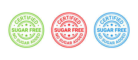 Sugar free stamp, icon. No sugar added label. Diabetic round imprint badge. Certified sticker. Green, red, blue seal marks isolated. Vector illustration. Emblem for package product on white background