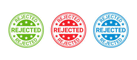 Rejected stamp. Denied permit badge, label. Round sticker reject. Red seal imprint. Negative decision mark. Circle shape emblem isolated on white background. Vector illustration.