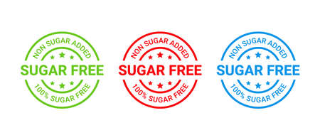 Sugar free stamp, icon. No sugar added label. Diabetic round sticker. Certified badge mark. Green, red, blue seal imprints isolated. Emblem for package product on white background. Vector illustration