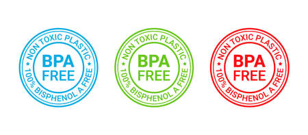 BPA free icon. Non toxic plastic label emblem. No bisphenol round stamp badge. Bisphenol A, phthalates free imprint for eco packaging. Seal mark isolated on white background. Vector illustration Illustration