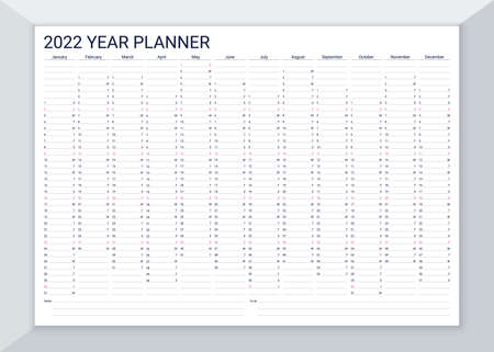 2022 year calendar planner. Desk calender template. Vector. Annual daily organizer. Agenda diary. Week starts Sunday. Schedule page with 12 month in English. Business illustration in simple design.