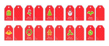 Christmas gift tags. Cards for gift boxes and presents. Xmas and New Year decorative elements on red print. Set of holiday paper labels. Vector illustration. Flat design.