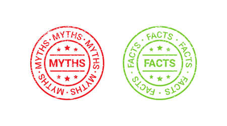 Fact Myth grunge rubber stamps, badges. Vector illustration. Truth or false seal imprints. Red green emblems isolated on white background. Infographic labels.