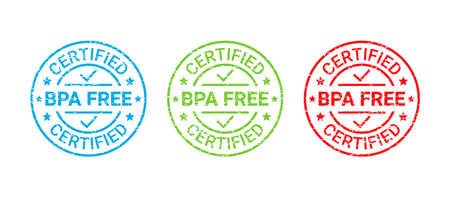 BPA free grunge stamp. No bisphenol icon round badge. Non toxic plastic label. Certified seal imprint for eco package. Retro emblem. Vector illustration. Waste marks isolated on white background Illustration