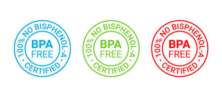 BPA free icon. No bisphenol round stamp badge. Non toxic plastic label emblem. Bisphenol A phthalates free seal imprint for eco package. Vector illustration. Waste marks isolated on white background