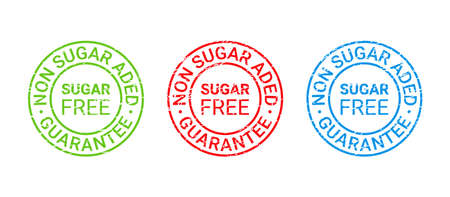 Sugar free grunge stamp, icon. No sugar added label. Diabetic round emblem. Green red blue seal imprints isolated. Sticker for package product on white background. Guarantee badge. Vector illustration