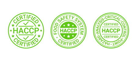 HACCP food safety system stamp, badge. Hazard analysis Critical Control Points icons. Certified round emblem. Set seal imprints isolated on white background. Quality warranty mark. Vector illustration Illustration