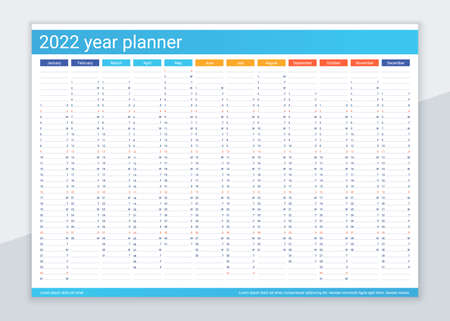 2022 year calendar planner. Desk calender template. Annual daily organizer. Agenda diary. Week starts Sunday. Schedule page with 12 month in English. Vector illustration in simple design.