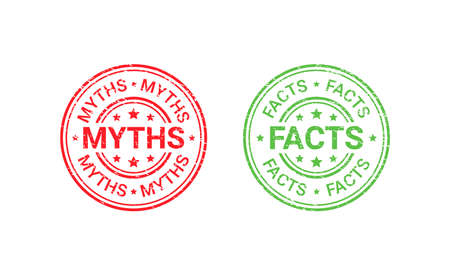 Fact Myth grunge rubber stamps, badges. Truth or false round seal imprints. Vector illustration. Emblems isolated on white background. Infographic labels. Illustration
