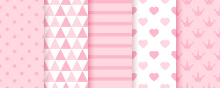 Baby backgrounds. Pink girl seamless pattern. Pastel geometric textures. Vector. Set of kids prints. Cute childish backdrop with polka dot, stripes, triangles and hearts. Modern illustration.