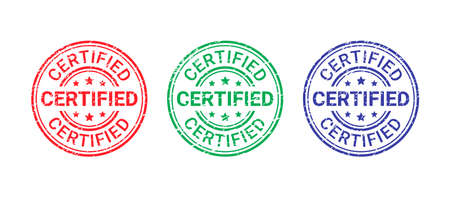 Certified grunge stamp. Vector. Quality mark approval. Checked retro badge. Warranty label. Endorsed round sticker. Vintage textured seal imprint. Emblem isolated on white background. Illustration