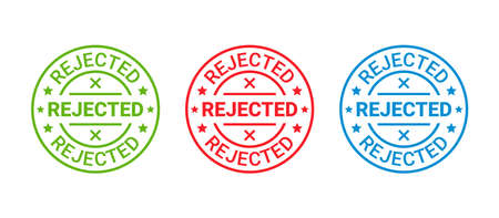 Rejected stamp. Denied permit badge, label. Round sticker reject. Negative decision mark. Red, blue, green seal imprint. Retro circular emblem isolated on white background. Vector illustration.