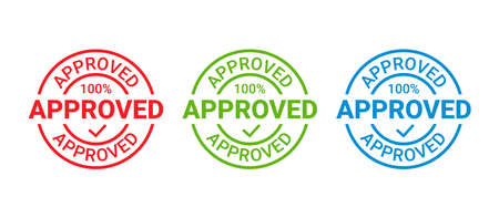 Approved stamp. Vector. Approval permit badge label. Accepted round sticker. Confirm certificate. Retro seal imprint. Quality mark. Circle shape emblem isolated on white background Simple illustration