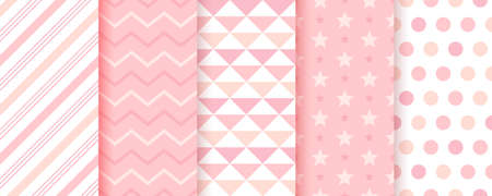 Baby girl backgrounds. Cute seamless pattern. Pastel pink geometric textures. Childish prints with zigzag, candy cane stripes, triangles, polka dot and star. Set of kids backdrops. Vector illustration
