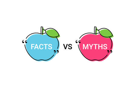 Fact VS Myth in speech bubbles in apple shapes. Vector illustration. Truth or false marks in quote frames on white background. Infographic stickers. Messages in textboxes.